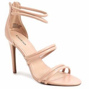 Bebe nude triple straps heels